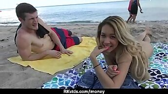 Blonde Amateur Gets Cash To Fuck Her Girlfriend from Behind In Public Room