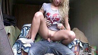 Blonde teen in the dark Analmal Training