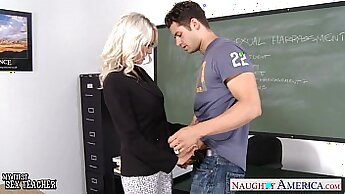 Curvy schoolgirl fucks and eats teachers cock