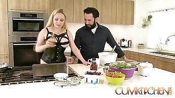 Beauty blonde with big tits toying her tight twat on the kitchen counter