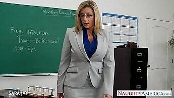 Busty teacher Sara Jay pounded by horny student
