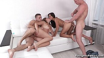 Blonde and young dude double facial sex