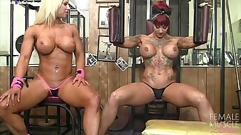 Filthy lesbians get naked and fucking at the gym