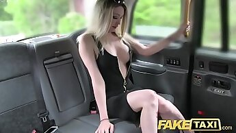 Cute and small blond chick fucked in fake taxi again stroking large hard cock