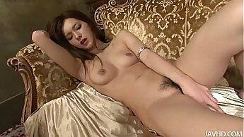 Buxom Japanese Kate masturbates with dildo and licks pussy