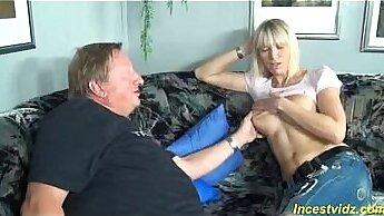 Amateur emotional father football and men teasing his daughter  spying shoes