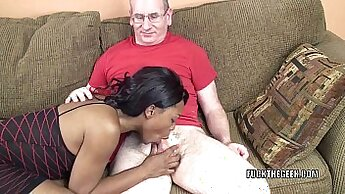 Black guy blows his own horny white wifey