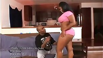 Buff ebony tight ass rides fat boobie after getting doggystyled
