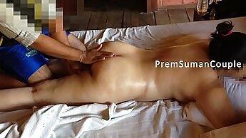 Cute wife Gina black dildo massage