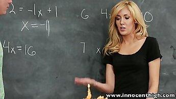 Blonde wrinkled chick on a schoolgirl