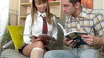 Bigboob blondie takes a hammering in the classroom