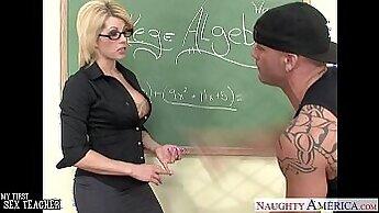 Brunette teacher gets fucked by horny student