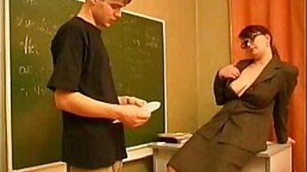Blonde Russian teen fucks his teacher