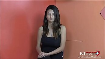 Busty Leyla at casting interview