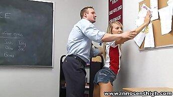 Blonde beauteous teen flashes and sucks her teachers dick