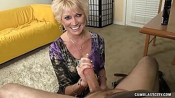 cum after a day of work and some granny games with her man