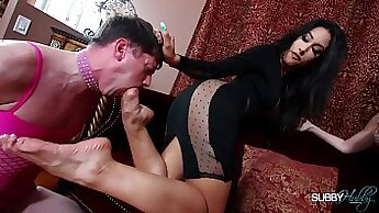 Candid Shemales In Foot Thong & Stockings In Stairs TTB