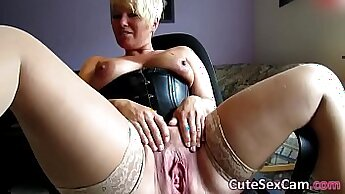 blonde in panties pussy masturbating on webcam