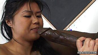 Bosomy Asian amateur Hinas Crimson gets fucked by black cock