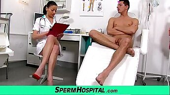 Brunette milf doctor and mom gets threesome