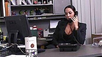 Auburn haired secretary Sonia Lopez pleasures dick brutally