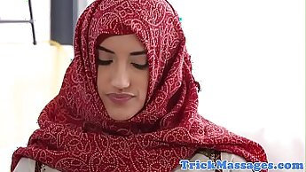 Arab Woman Watches her Man Pulling Out HeckFingers after Massage