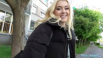 Blonde fucking public for money after work