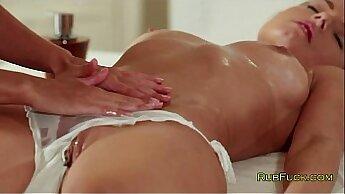Brunette girl with big tits fingered