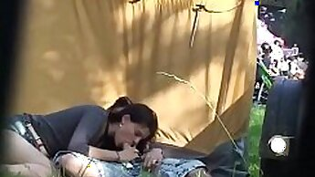 Amateur Couple In Fishnet Chat Outdoors Having Sex